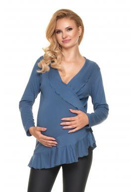 Tehotenská a dojčiaca blúzka v modrej farbe s volánmi