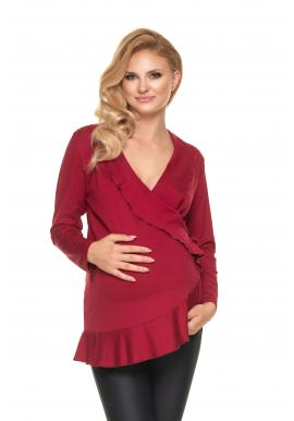 Elegantná tehotenská a dojčiaca blúzka bordovej farby s volánmi