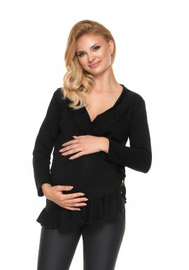 Čierna tehotenská a dojčiaca blúzka s volánmi
