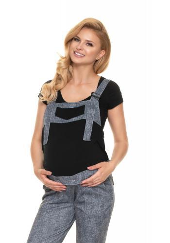 Tehotenské montérky v čiernej farbe JEANS LOOK