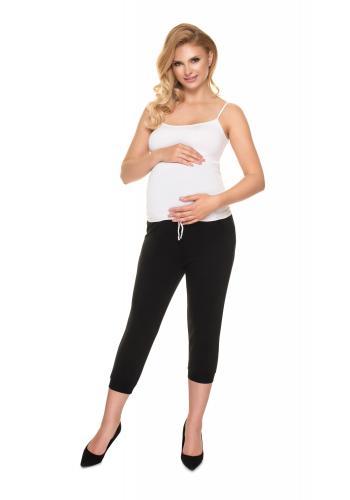 Bavlnené tehotenské 3/4 tepláky v čiernej farbe