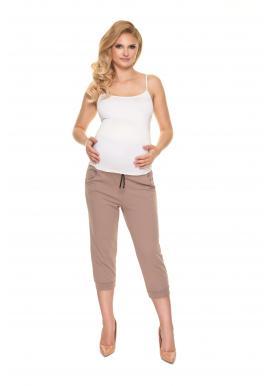 Tehotenské bavlnené 3/4 tepláky v béžovej farbe