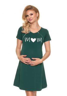 Zelená tehotenská a dojčiaca nočná košeľa so srdiečkom
