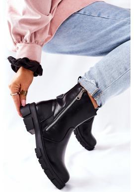 Štýlové čierne oteplené Workery so zipsom pre dámy