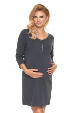 Tehotenská a dojčiaca nočná košeľa v tmavosivej farbe