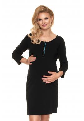 Nočná tehotenská a dojčiaca košeľa čiernej farby