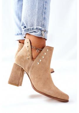 Béžové dámske topánky s výrezmi na stĺpiku