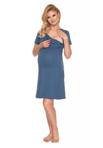 Tehotenská a dojčiaca košeľa na zapínanie z oboch strán v modrej farbe