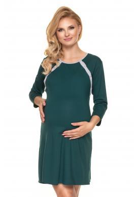 Zelená tehotenská a dojčiaca košeľa na zapínanie po zadnej dĺžke