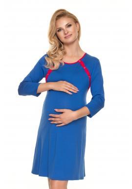 Módna tehotenská a dojčiaca košeľa na zapínanie po zadnej dĺžke modrej farby