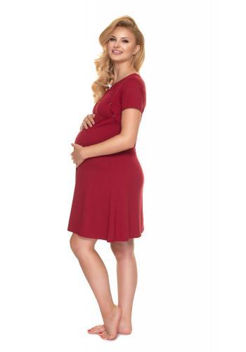 Nočná tehotenská a dojčiaca košeľa v bordovej farbe s mašličkou