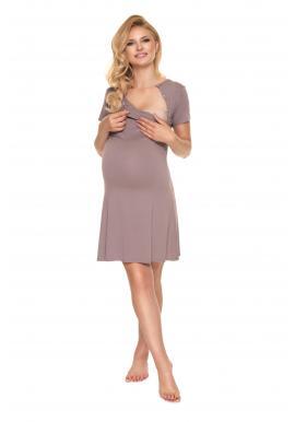 Cappuccinová tehotenská a dojčiaca nočná košeľa s mašličkou