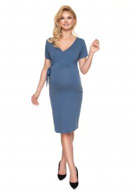 Tehotenské a dojčiace šaty s viazaním a výstrihom v tvare V v modrej farbe