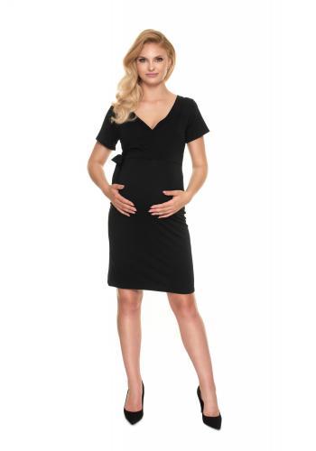 Čierne priliehavé tehotenské šaty s viazaním a výstrihom v tvare V