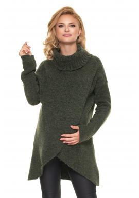 Tehotenský asymetrický sveter s rolákom v kaki farbe