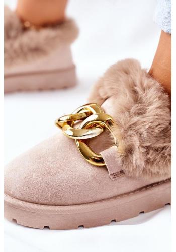 Béžové papuče s retiazkou a kožušinou