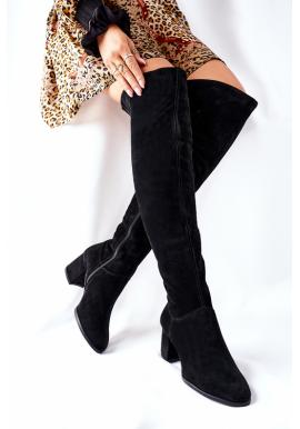 Čierne semišové čižmy nad kolená na podpätku pre dámy