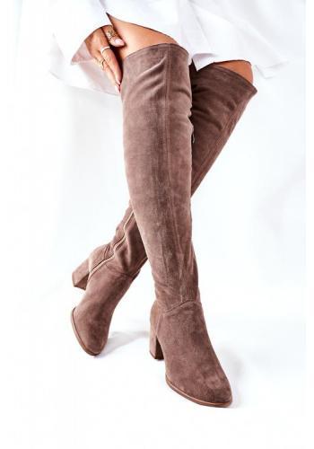 Štýlové hnedé čižmy nad kolená na podpätku pre dámy