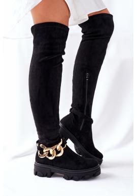 Čierne dámske čižmy nad kolená s odnímateľnou retiazkou