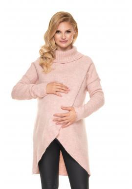 Ružový tehotenský asymetrický sveter s rolákom