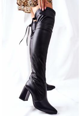 Kožené dámske čížmy nad kolená v čiernej farbe