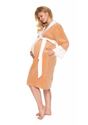 Velúrový tehotenský župan v béžovej farbe