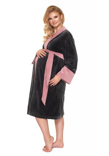 Tehotenský velúrový župan v tmavosivej farbe s ružovým lemovaním
