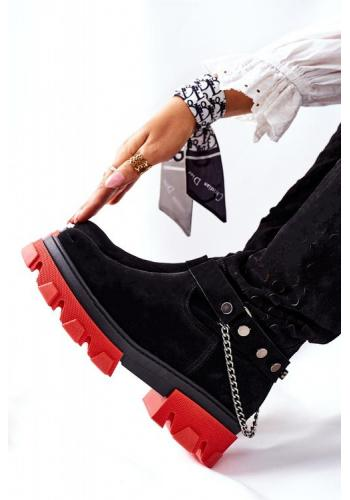 Dámske čierne čižmy s červenou podražkou