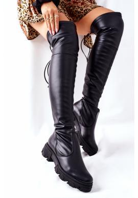 Čierne kožené dámske čižmy nad kolená