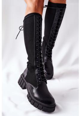 Šnúrovacie dámske ponožkové čižmy v čiernej farbe