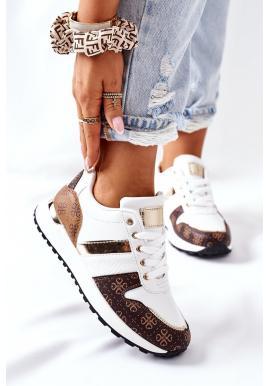Dámske štýlové Sneakersy so vzorom v bielej farbe