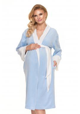Dámsky velúrový župan v modrej farbe pre tehotné