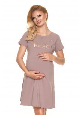 Tehotenská a dojčiaca nočná košeľa v béžovej farbe s nápisom