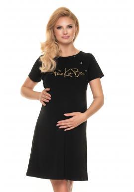 Čierna tehotenská a dojčiaca nočná košeľa so zlatým nápisom