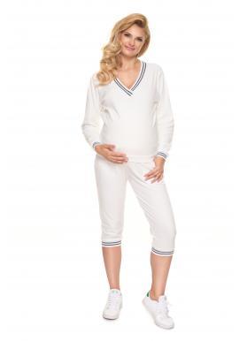 Velúrová tehotenská súprava na spanie v bielej farbe