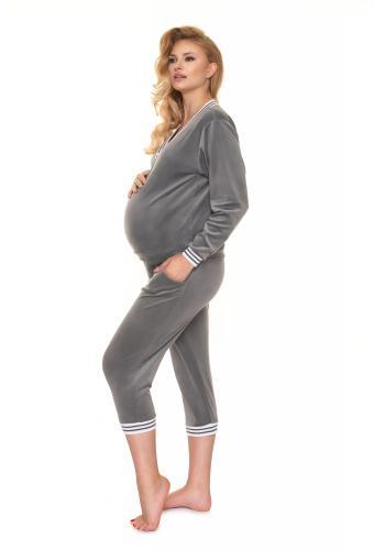Tmavosivá velúrová súprava na spanie pre tehotné
