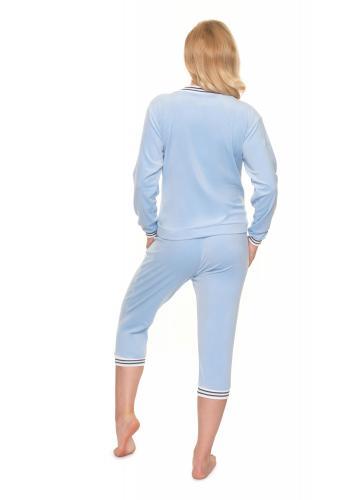 Tehotenská velúrová súprava na spanie v modrej farbe