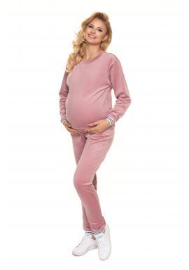 Dámska velúrová nočná súprava v ružovej farbe pre tehotné