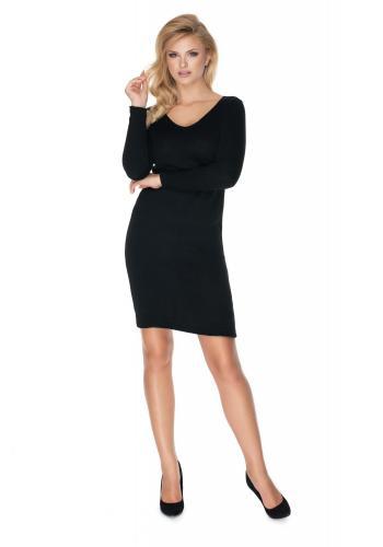 Štýlové pletené šaty s V výstrihom v čiernej farbe pre dámy