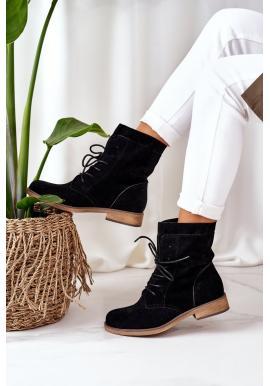 Čierne semišové čižmy s dvojitým zvrškom pre dámy