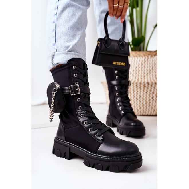 Čierne oteplené Workery s kapsičkou pre dámy