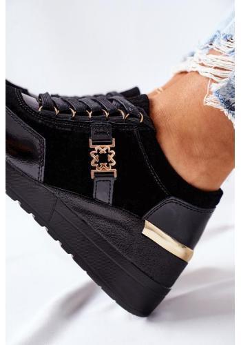 Čierne dámske Sneakersy so zlatým zdobením