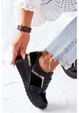 Dámske čierne Sneakersy na klínovom podpätku