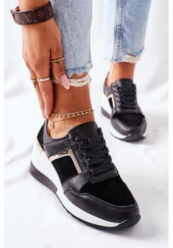 Trendy čierne dámske Sneakersy na klínovom podpätku