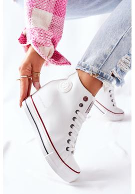 Biele dámske kožené Sneakersy na klínovom podpätku