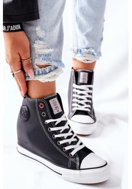 Dámske čierne kožené Sneakersy na klínovom podpätku