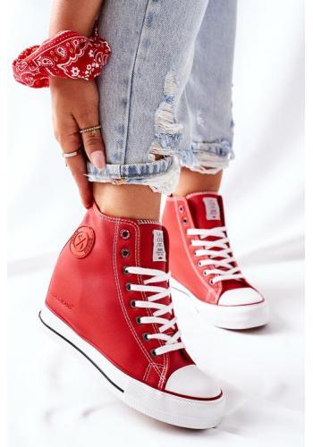 Červené kožené Sneakersy na klínovom podpätku pre dámy