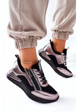 Štýlové dámske čierne Sneakersy s metalickým zdobením