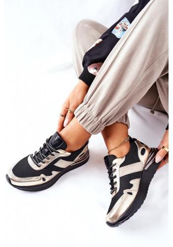 Trendy dámske Sneakersy v zlato-čiernej farbe