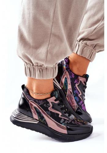 Čierne dámske Sneakersy s farebnými vzorom